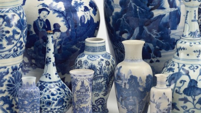 A mass of blue and white ceramic vessels