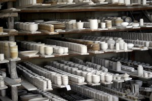 Racks of unpainted porcelain