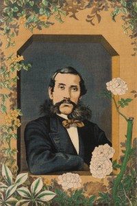 Portrait of Ōkubo Toshimichi, framed in a light brown border adorned by various flora.