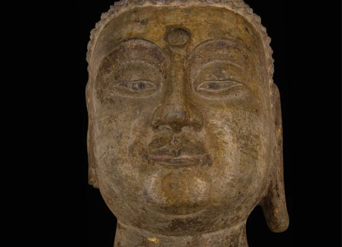 Stone head depicting a buddha