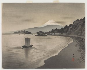 gray-toned print of a body of water and its coast; a lone boat sails near the desolate shore, and Mt. Fuji looms in the far distance