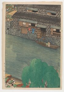 a river; on the further bank, there is a house; its windows are open, a clothesline hangs on the side, and a boy sits on the threshold of an open entry; beneath him, a person sits in a small boat, looking up; on the nearer bank, there is a large tree, and a few people can be seen carrying crops