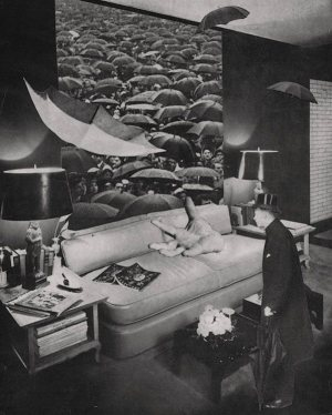 black and white photo of a surreal living room scene with umbrellas floating, a giant hand on a sofa, and a gentleman in a top hot holding an umbrella