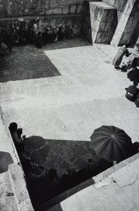 a top view showing an umbrella and a person