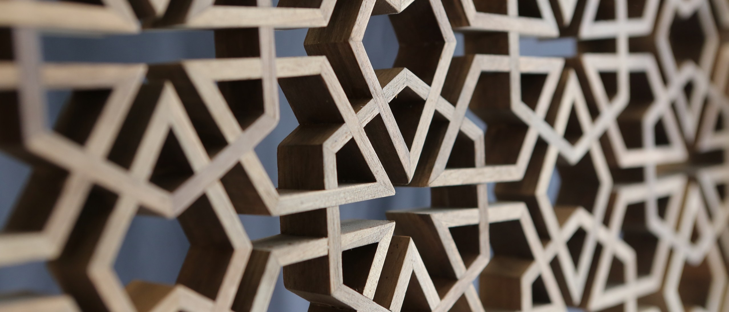 Intricate wooden latticework