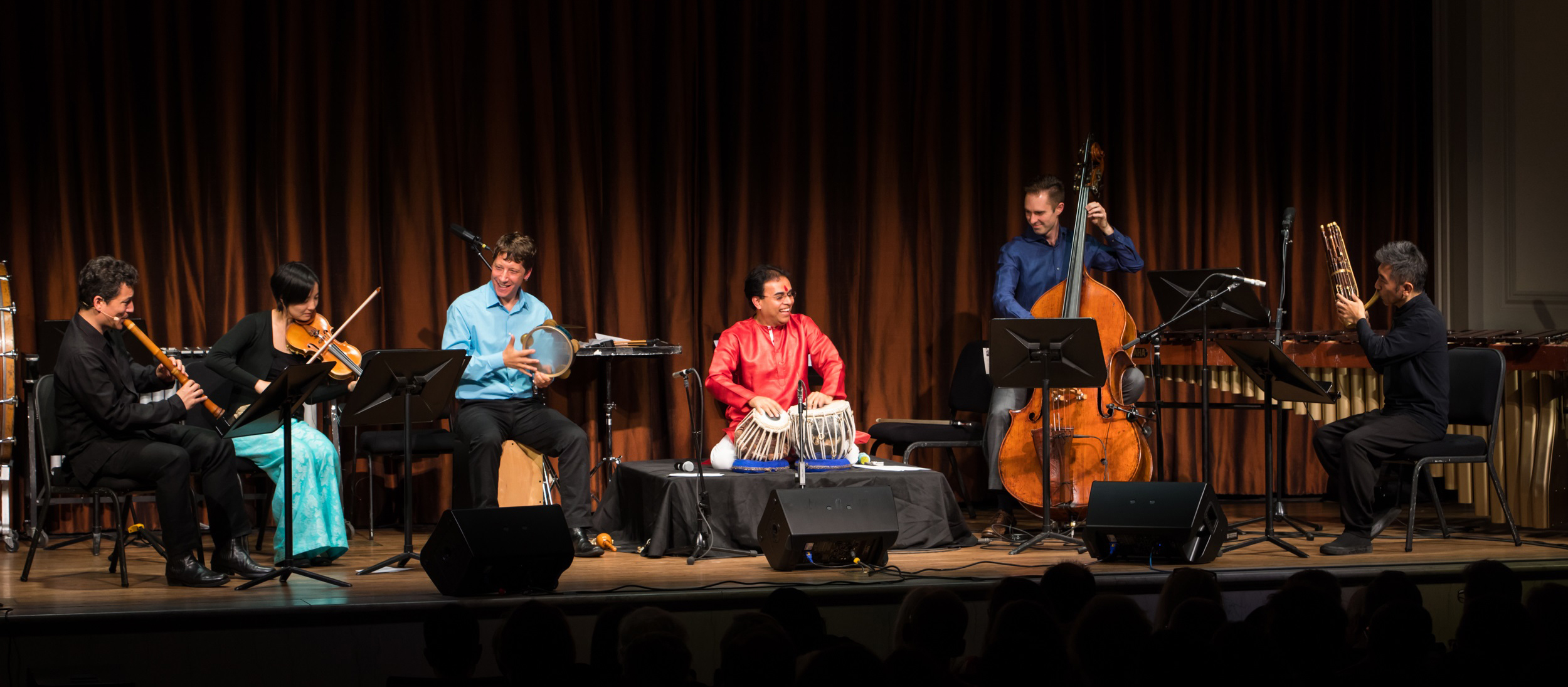 Members of the Silkroad Ensemble performing a new composition at the Freer|Sackler.