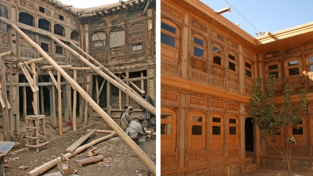 Before and after of restored building