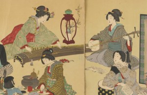 Detail from a nineteenth-century woodblock print of two women playing the koto and shamisen.