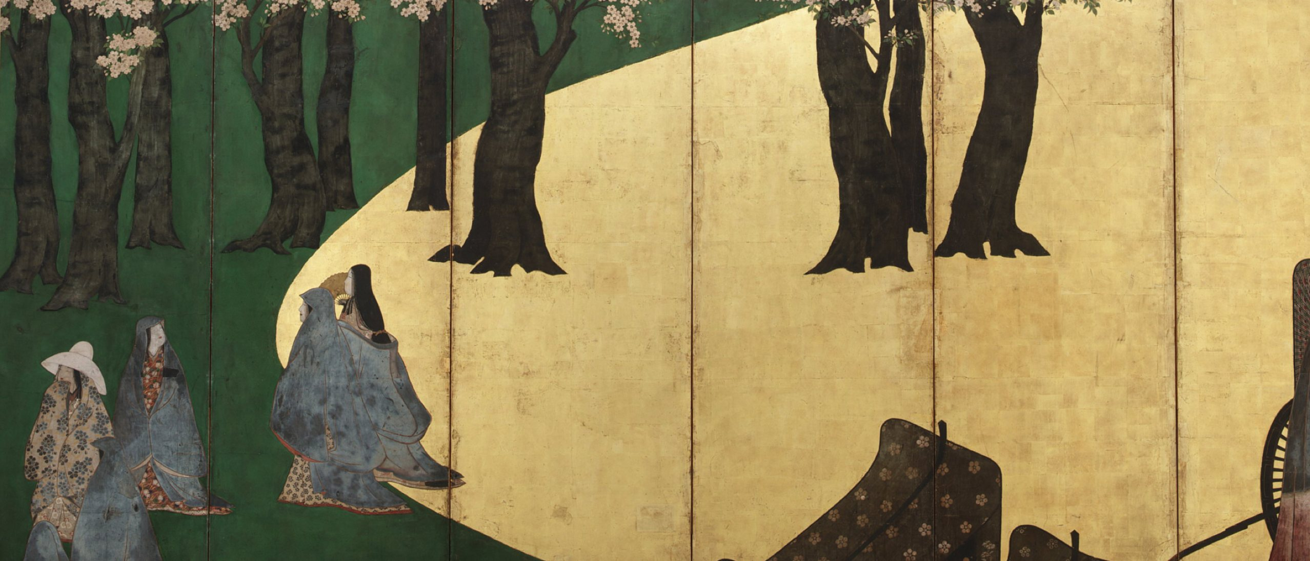 painted screen depicting a group of cloaked females