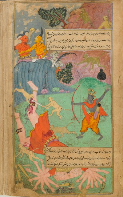 an archer and monkeys attacking a many-headed, many-armed giant
