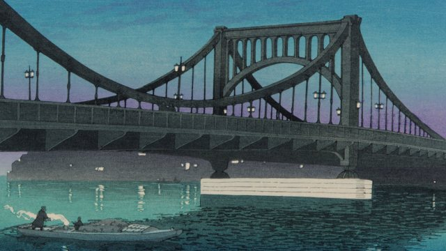 screen print of bridge of river in rich blue, purple, green