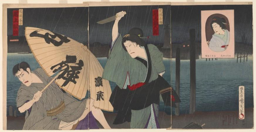 a man holding an umbrella blocking an attacker with a knife
