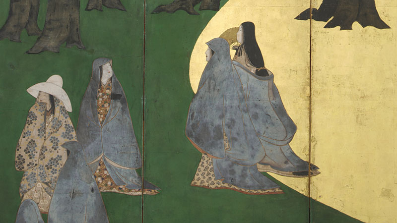 detail from a Japanese screen, showing four figures in flowing clothing against the green of a forest and a golden curved area