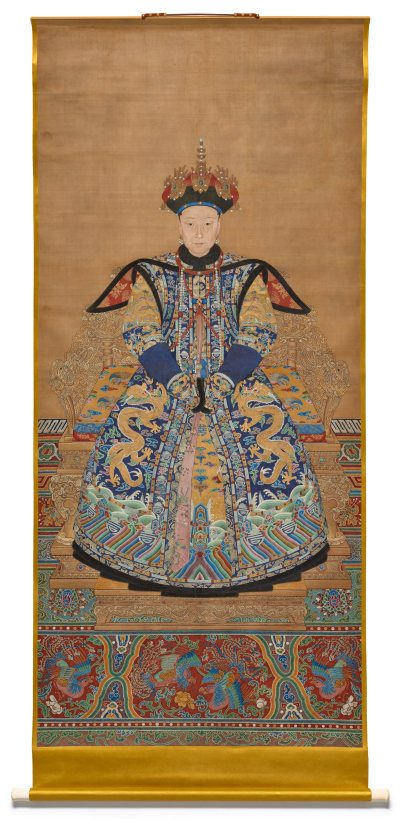 scroll painting of an empress in a colorful robe against a gold background