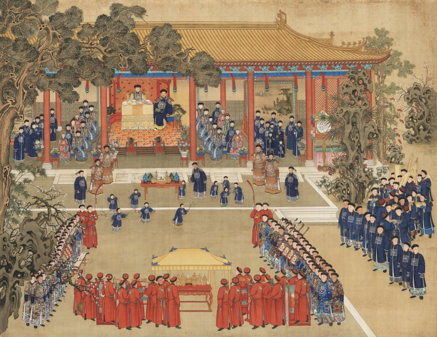 painting of a large crowd of people assembled in front of a palace. the people in front wear read robes, while the people on the right and within the palace wear blue robes. a central figure is seated inside the palace