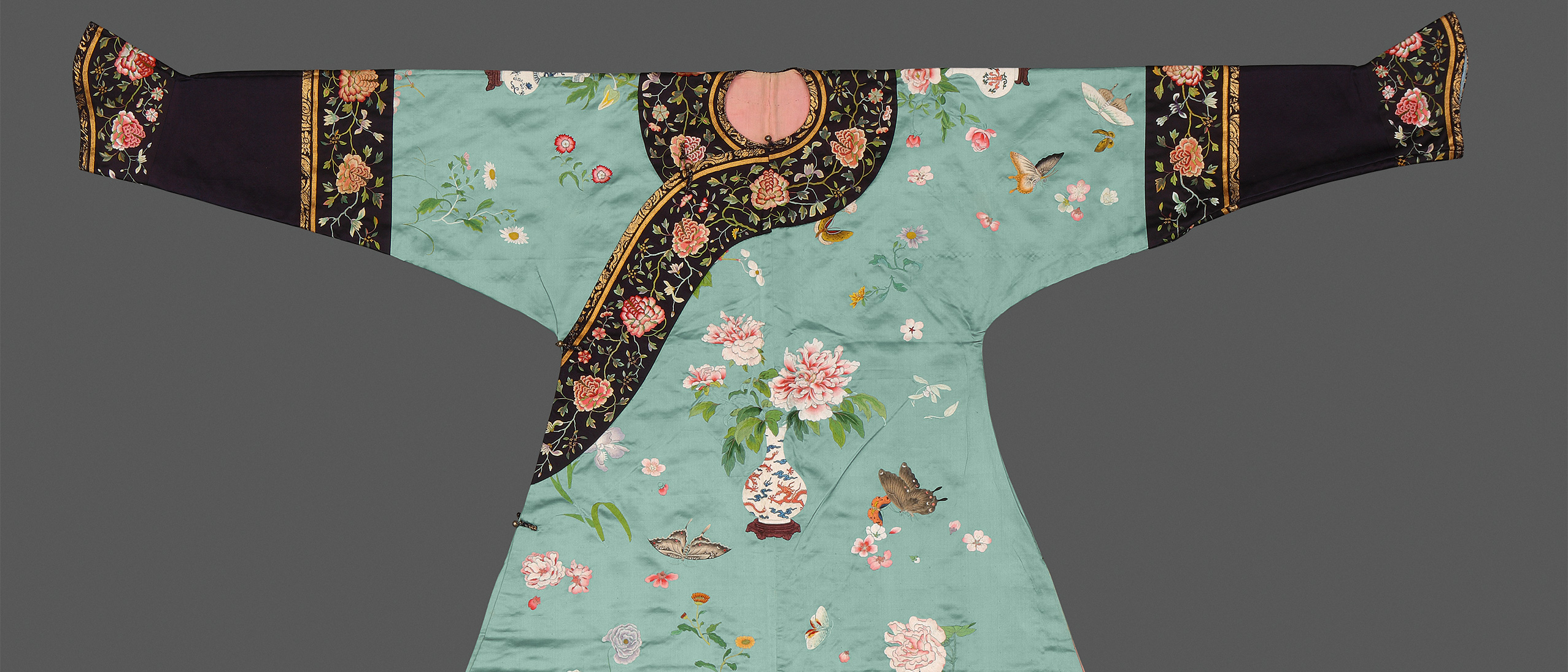 blue silk robe embroidered with floral patterns