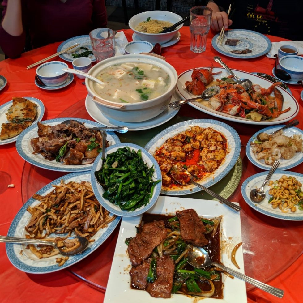 assortment of food dishes