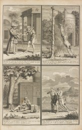 Four prints depicting austere practices of Hindu devotees: a man has a wooden lattice around his neck; a man is suspended from his ankles, with his hands tethered to the ground; a man is chained by his ankle to a tree outside a temple; two men walk with heavy chains draped over their shoulders.