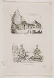 Engraving and etching of Jugannath Temple, above a separate image of two ascetics seated on tiger-skin rugs.