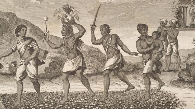 Illustration of devotees walking on hot coals.