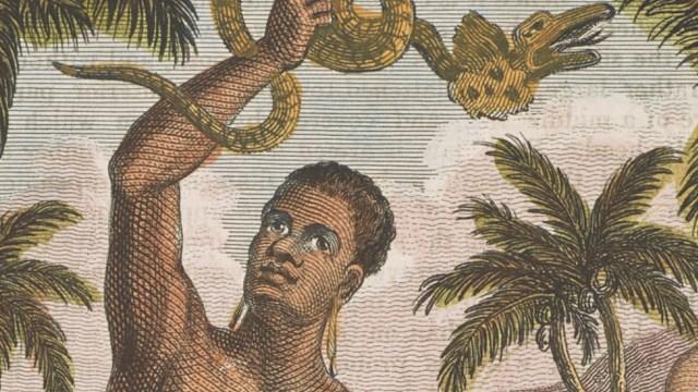 Man holding a serpent.
