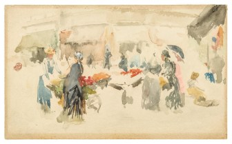 Flower Market: Dieppe 1885 Watercolor on hot-pressed, wove paper F1907.171
