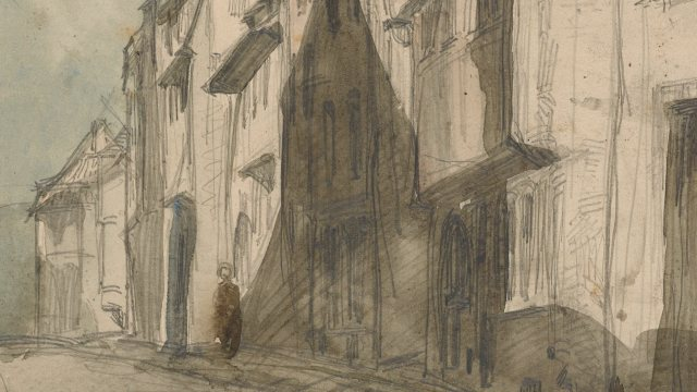 muted watercolor of a silhouette of a person in city street scene