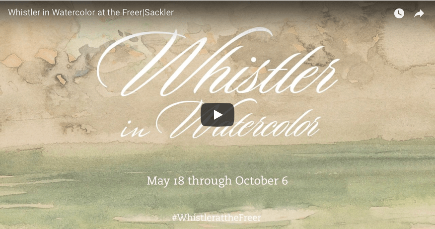 still image of the video title screen for Whistler in Watercolor exhibition promo video