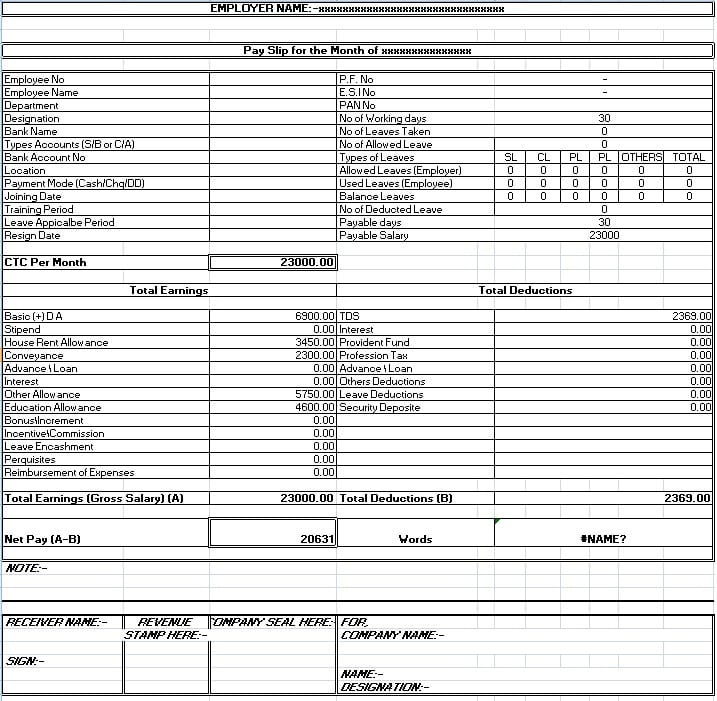 Salary Sheet Slip Format  Free Wage Slips Template