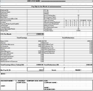 Salary sheet slip format formats examples in word excel salary slip template thecheapjerseys Images