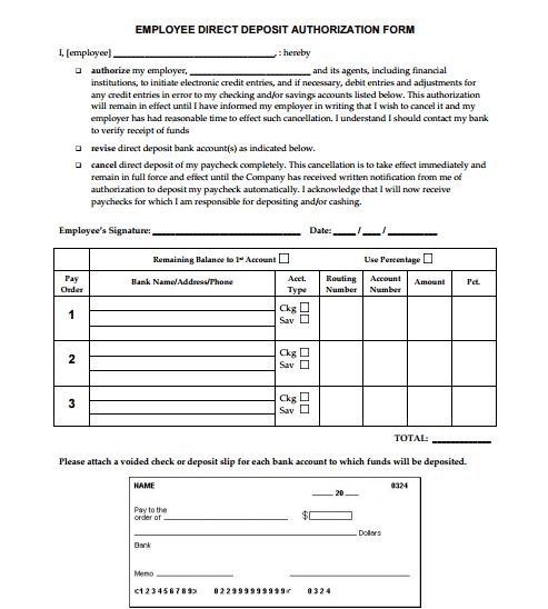 authorization for direct deposit employee form