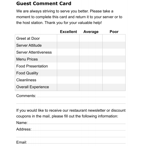 restaurant comment cards templates