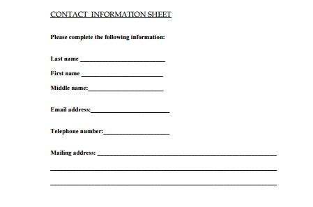 5 contact info templates formats examples in word excel for Client information sheet template excel
