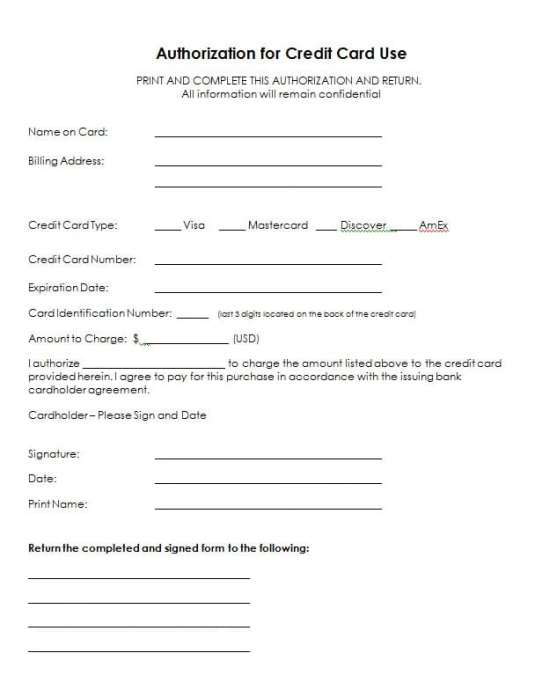credit card authorization form template 154