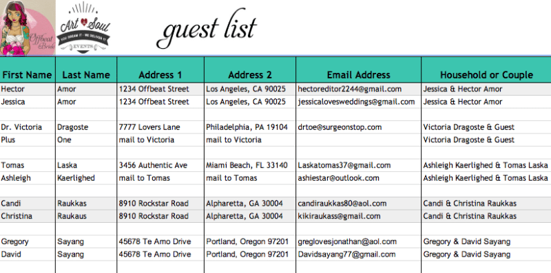 Guest ...  Event Guest List Template