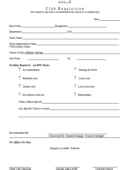 Beautiful Club Requisition Form