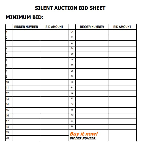 Silent auction bid sheets