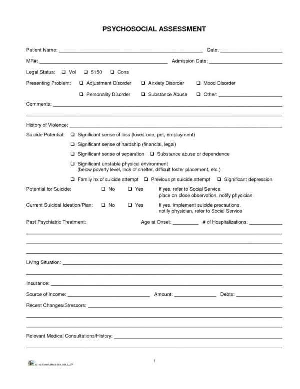 Biopsychosocial Assessment Questions Templates  Formats Examples