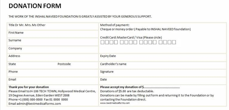 6 Charitable Donation Form Templates formats Examples in Word Excel