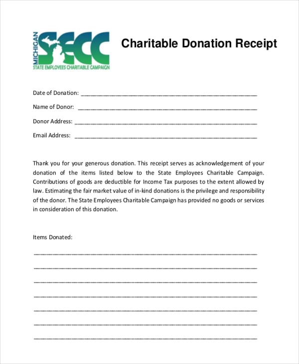 5 charitable donation receipt templates formats examples in word excel. Black Bedroom Furniture Sets. Home Design Ideas