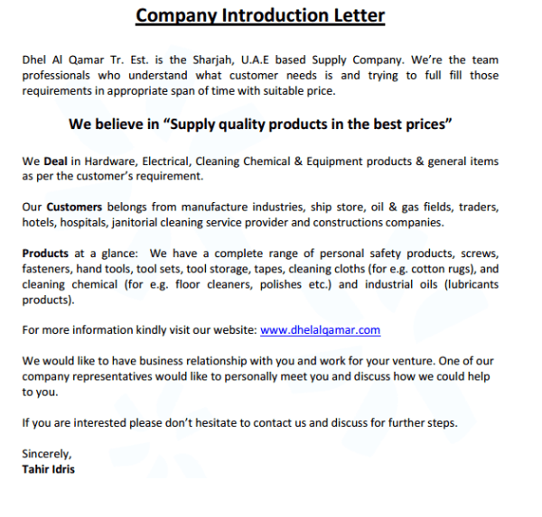 4 Company Introduction Email Samples Formats Examples