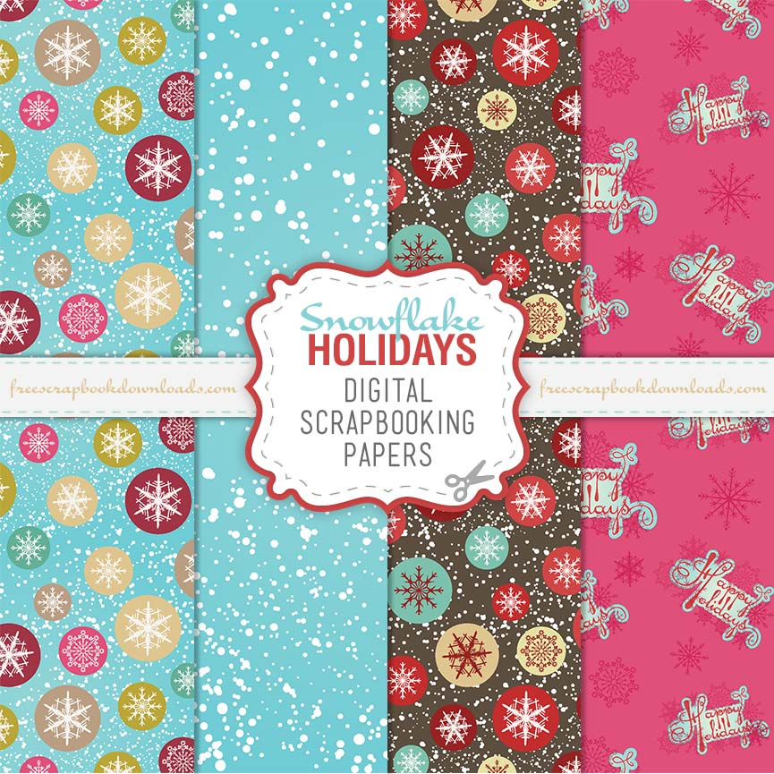 Happy Holidays Christmas Scrapbook Papers