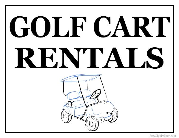 Printable Golf Cart Rentals Sign