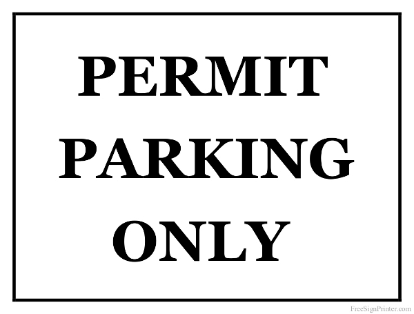 Printable Permit Parking Only Sign