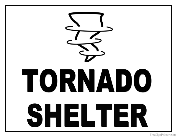 Printable Tornado Shelter Sign