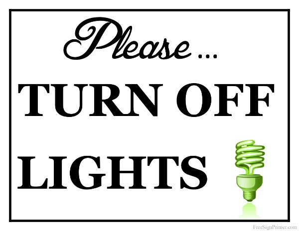 Printable Turn off Lights Sign