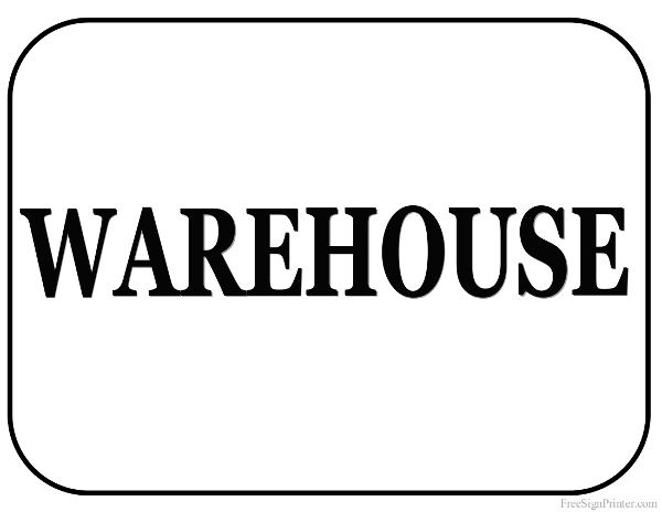 Printable Warehouse Department Sign