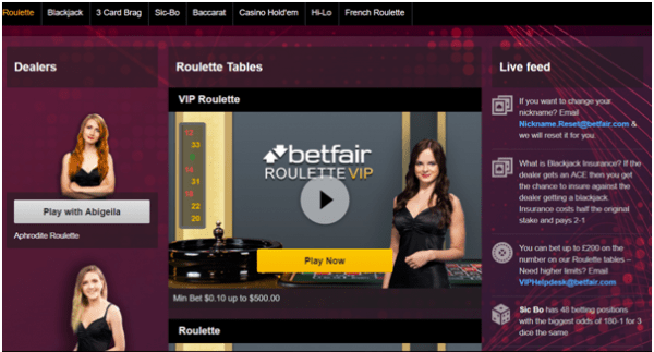 Betfair live dealer games
