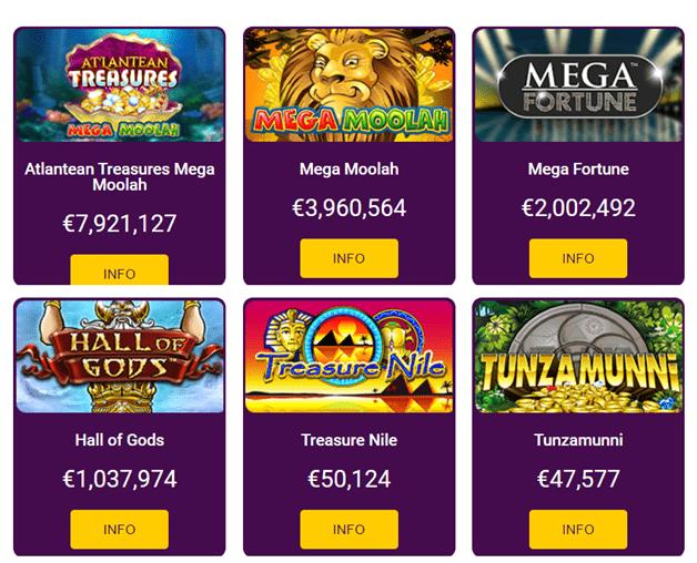 Jackpot games at No Deposit Online Casino