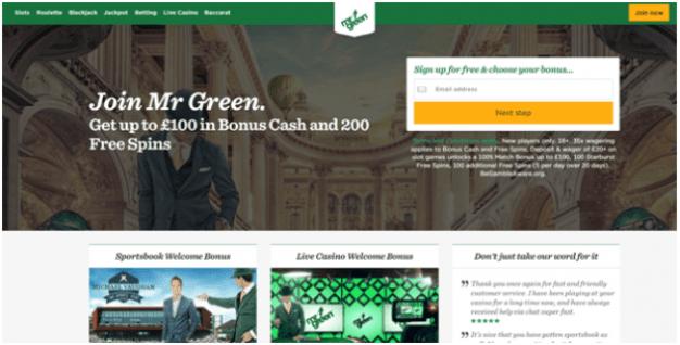 Mr Green Online casino for Irish punters
